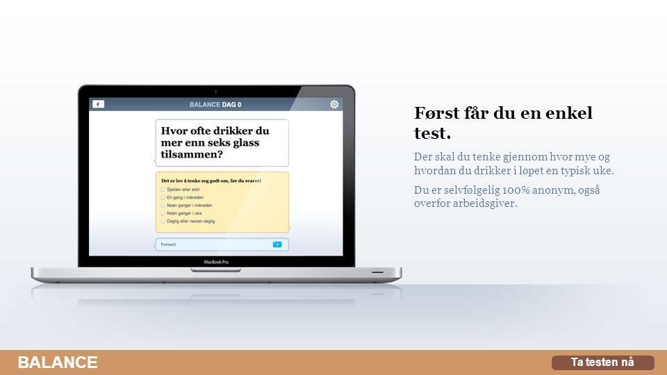 Først får du en enkel test. Der skal du tenke gjennom hvor mye og hvordan du drikker i løpet en typisk uke. Du er selvfølgelig 100% anonym, også overf