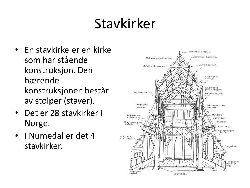 Stavkirker • En stavkirke er en kirke som har stående konstruksjon.