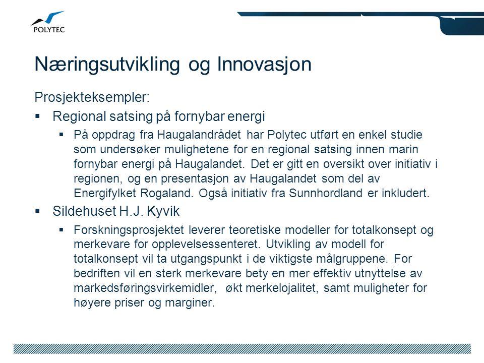 Næringsutvikling og Innovasjon Prosjekteksempler:  Regional satsing på fornybar energi  På oppdrag fra Haugalandrådet har Polytec utført en enkel st