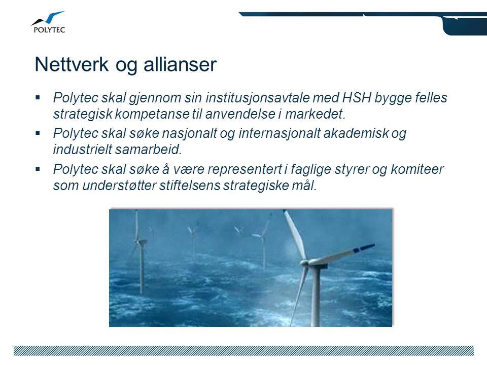 Nettverk og allianser  Polytec skal gjennom sin institusjonsavtale med HSH bygge felles strategisk kompetanse til anvendelse i markedet.  Polytec sk