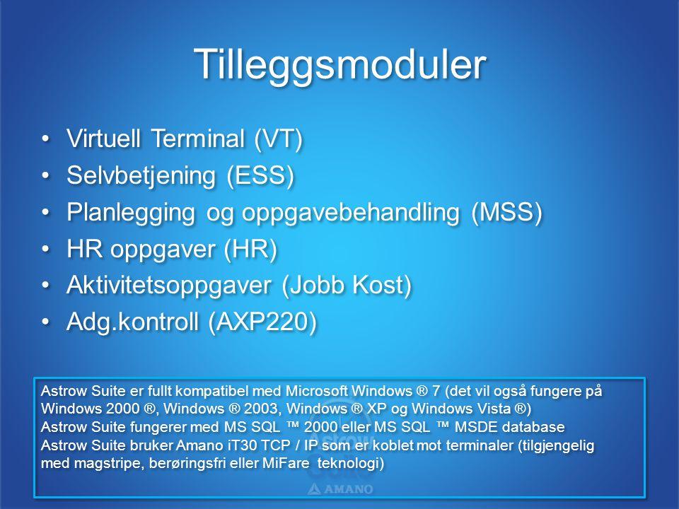Tilleggsmoduler •Virtuell Terminal (VT) •Selvbetjening (ESS) •Planlegging og oppgavebehandling (MSS) •HR oppgaver (HR) •Aktivitetsoppgaver (Jobb Kost)