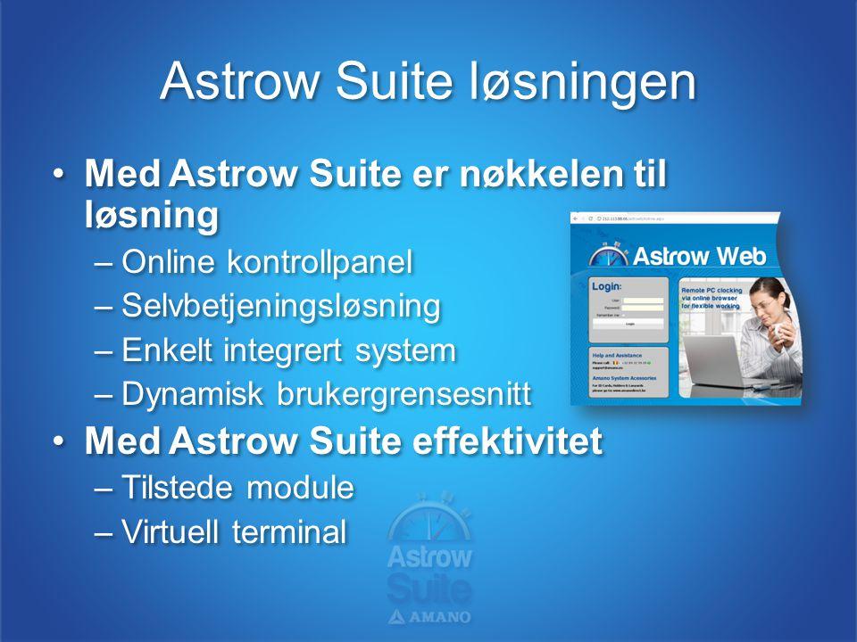 Astrow Suite løsningen •Astrow Suite tilbyr praktiske alternativer –Kalkuler overtidstimer –Reduser papir- og regnarks-løsninger –Tilby varianter av stemplingsmuligheter •En fleksibel tilnærming til tidsstyring –Fleksible skift-løsninger –Selvbetjeningsverktøy •Astrow Suite tilbyr praktiske alternativer –Kalkuler overtidstimer –Reduser papir- og regnarks-løsninger –Tilby varianter av stemplingsmuligheter •En fleksibel tilnærming til tidsstyring –Fleksible skift-løsninger –Selvbetjeningsverktøy