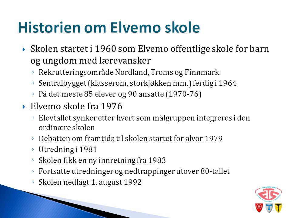  Skolen startet i 1960 som Elvemo offentlige skole for barn og ungdom med lærevansker ◦ Rekrutteringsområde Nordland, Troms og Finnmark.