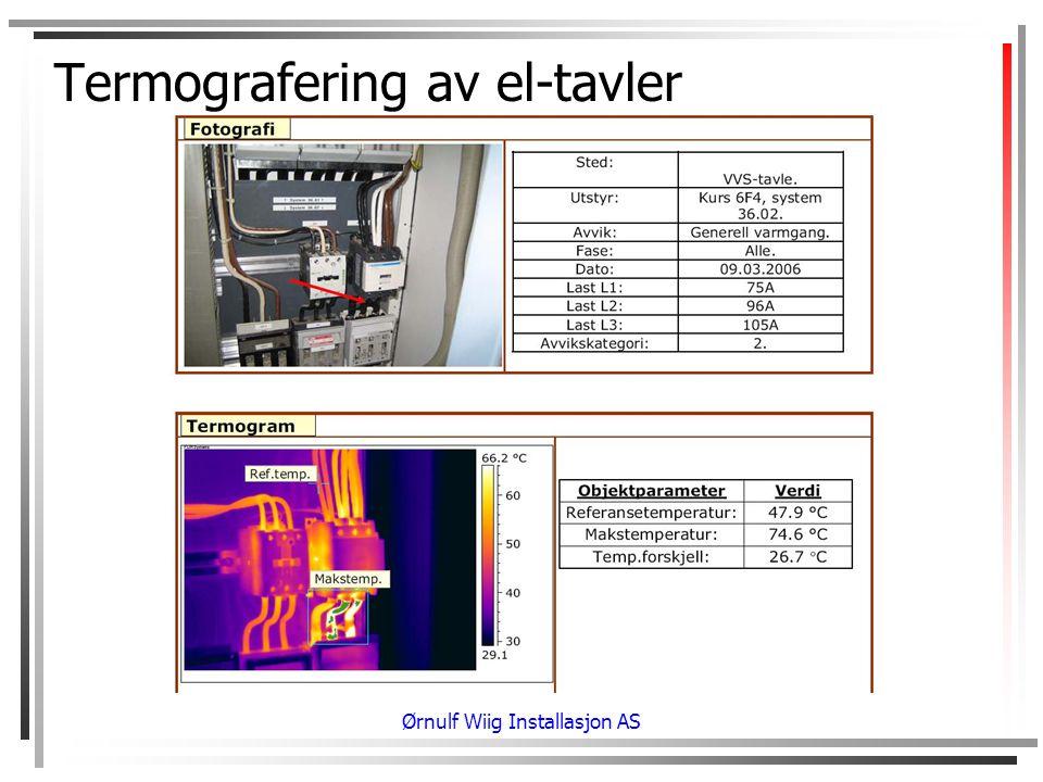 Termografering av el-tavler Ørnulf Wiig Installasjon AS