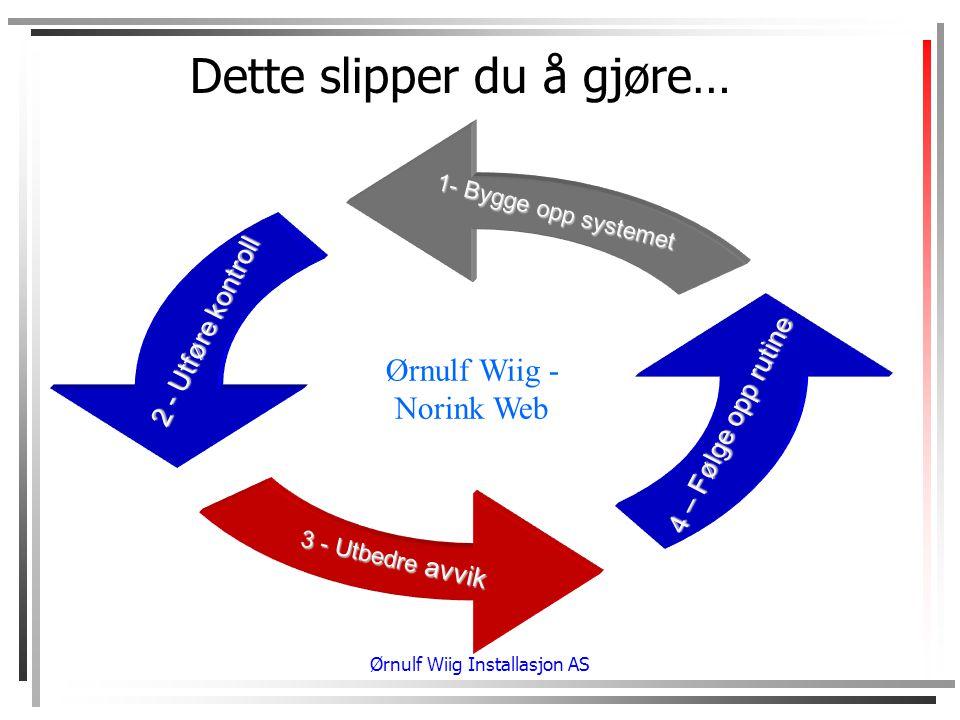 Ørnulf Wiig Installasjon AS Dette slipper du å gjøre… Ørnulf Wiig - Norink Web 1- Bygge opp systemet 2 - Utføre kontroll 3 - Utbedre avvik 4 – Følge opp rutine