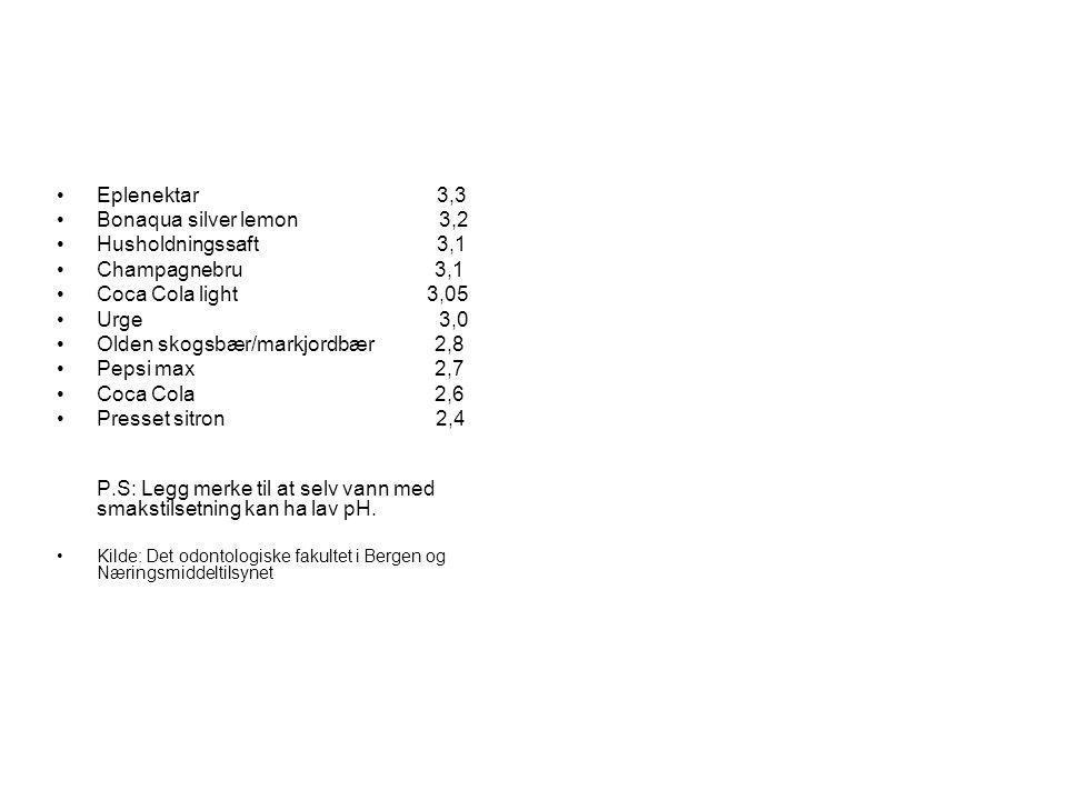 •Eplenektar 3,3 •Bonaqua silver lemon 3,2 •Husholdningssaft 3,1 •Champagnebru 3,1 •Coca Cola light 3,05 •Urge 3,0 •Olden skogsbær/markjordbær 2,8 •Pep