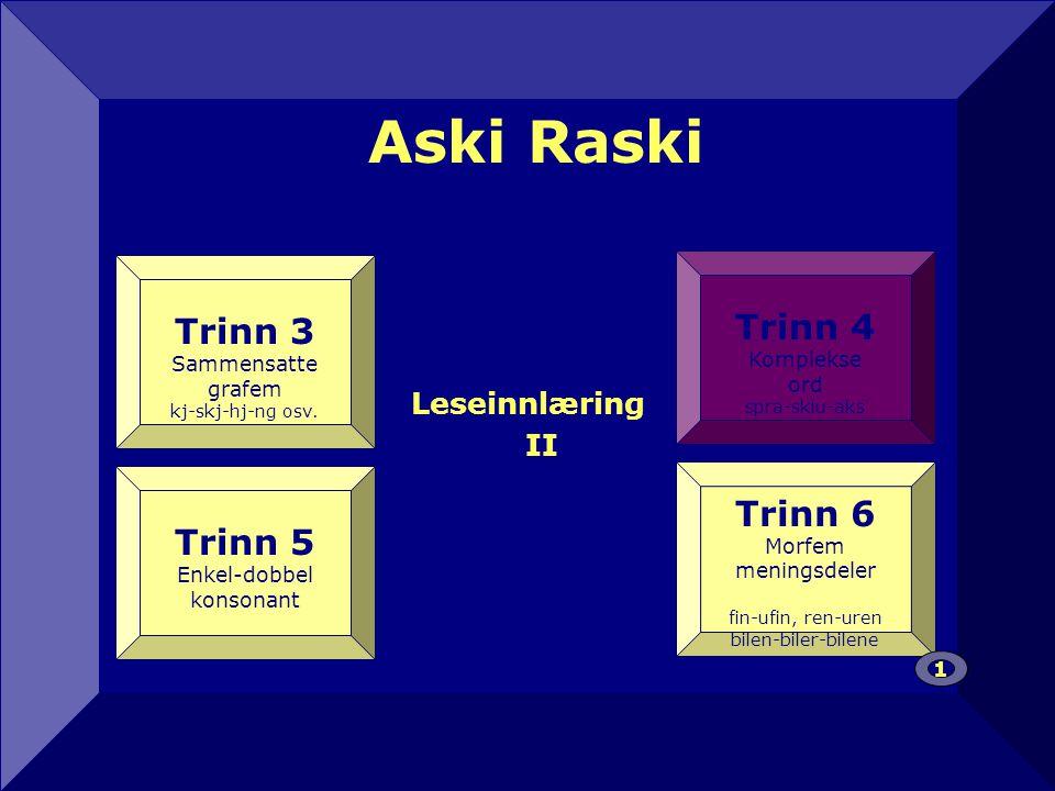 Aski Raski Leseinnlæring II 12 Trinn 4 Komplekse ord spra-sklu-aks Trinn 3 Sammensatte grafem kj-skj-hj-ng osv.