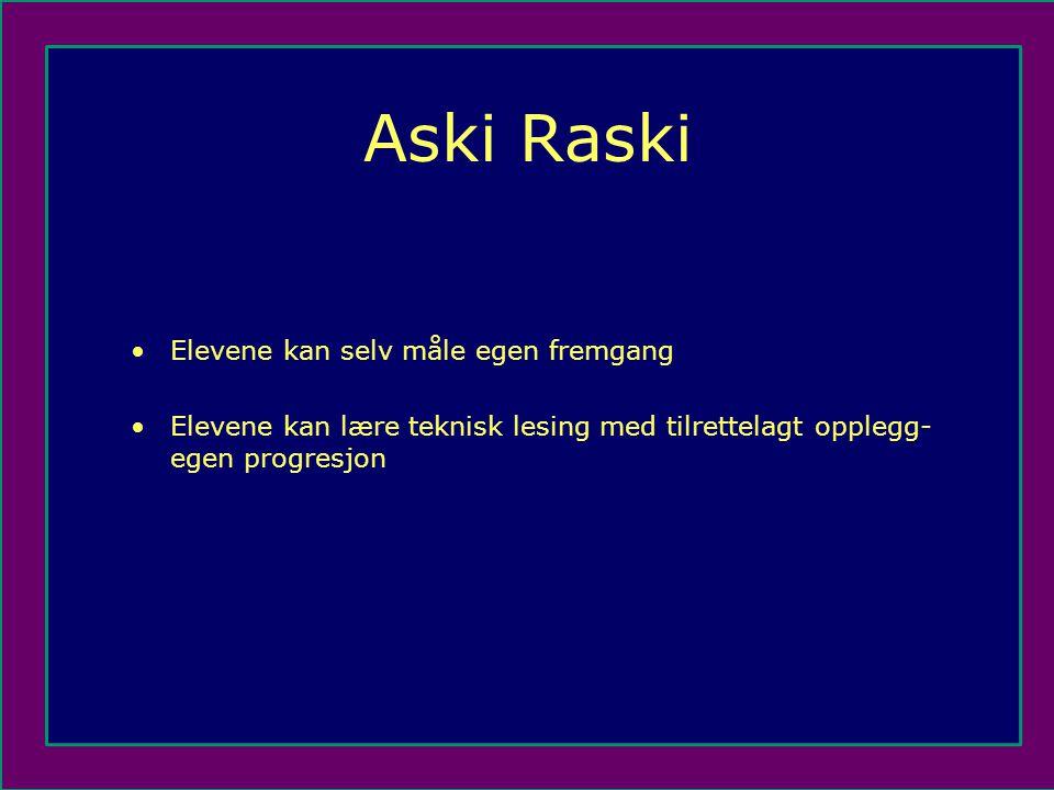 Aski Raski •Elevene kan selv måle egen fremgang •Elevene kan lære teknisk lesing med tilrettelagt opplegg- egen progresjon