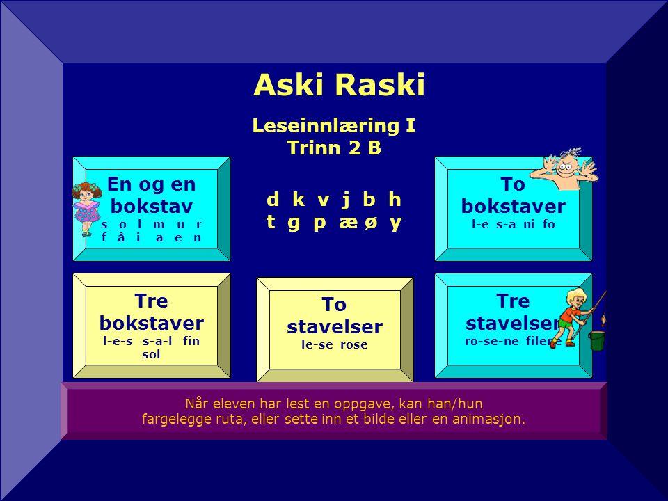 Aski Raski Leseinnlæring I Trinn 2 B d k v j b h t g p æ ø y En og en bokstav s o l m u r f å i a e n To bokstaver l-e s-a ni fo Tre bokstaver l-e-s s-a-l fin sol To stavelser le-se rose Tre stavelser ro-se-ne filene SkriveøvelserOrdoversiktOrdbok Når eleven har lest en oppgave, kan han/hun fargelegge ruta, eller sette inn et bilde eller en animasjon.