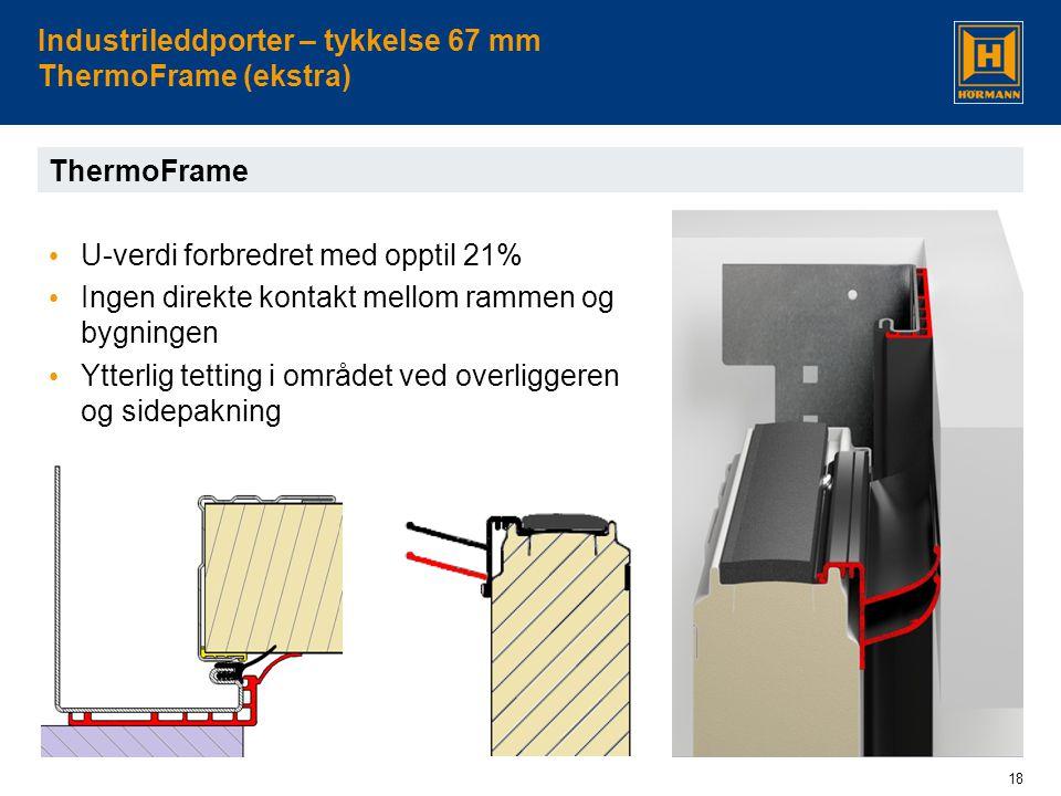 18 Industrileddporter – tykkelse 67 mm ThermoFrame (ekstra) ThermoFrame • U-verdi forbredret med opptil 21% • Ingen direkte kontakt mellom rammen og bygningen • Ytterlig tetting i området ved overliggeren og sidepakning