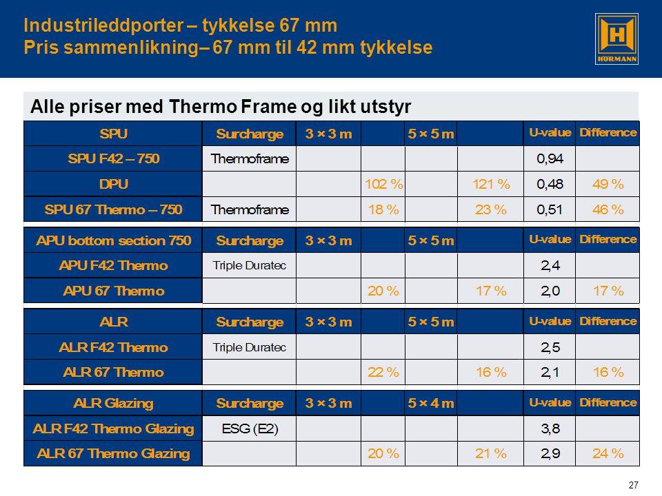 27 Industrileddporter – tykkelse 67 mm Pris sammenlikning– 67 mm til 42 mm tykkelse Alle priser med Thermo Frame og likt utstyr