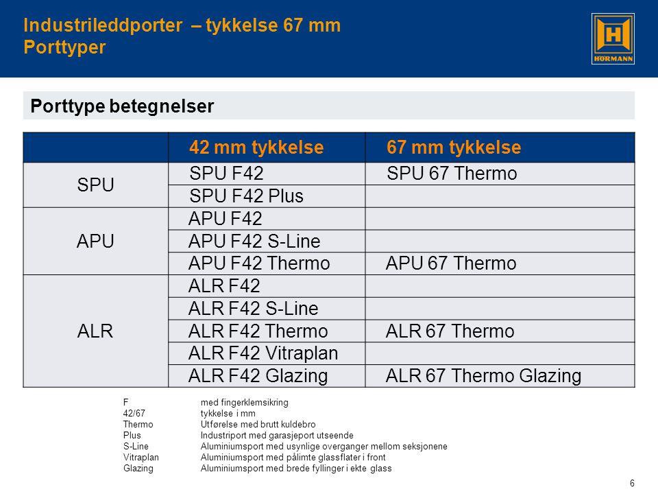 6 Industrileddporter – tykkelse 67 mm Porttyper Fmed fingerklemsikring 42/67tykkelse i mm Thermo Utførelse med brutt kuldebro PlusIndustriport med garasjeport utseende S-LineAluminiumsport med usynlige overganger mellom seksjonene Vitraplan Aluminiumsport med pålimte glassflater i front GlazingAluminiumsport med brede fyllinger i ekte glass Porttype betegnelser 42 mm tykkelse 67 mm tykkelse SPU SPU F42 SPU 67 Thermo SPU F42 Plus APU APU F42 APU F42 S-Line APU F42 Thermo APU 67 Thermo ALR ALR F42 ALR F42 S-Line ALR F42 Thermo ALR 67 Thermo ALR F42 Vitraplan ALR F42 Glazing ALR 67 Thermo Glazing