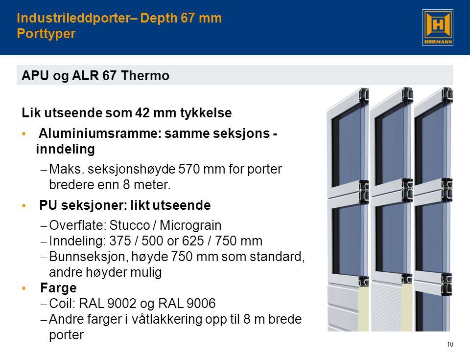 10 Industrileddporter– Depth 67 mm Porttyper APU og ALR 67 Thermo Lik utseende som 42 mm tykkelse • Aluminiumsramme: samme seksjons - inndeling  Maks