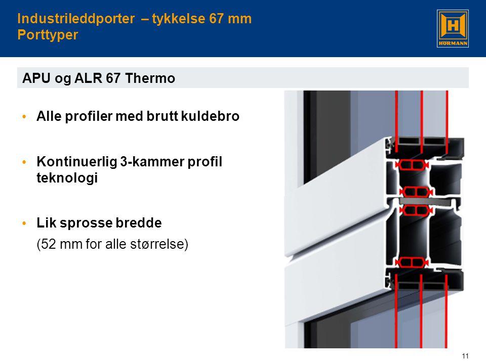 11 Industrileddporter – tykkelse 67 mm Porttyper • Alle profiler med brutt kuldebro • Kontinuerlig 3-kammer profil teknologi • Lik sprosse bredde (52 mm for alle størrelse) APU og ALR 67 Thermo