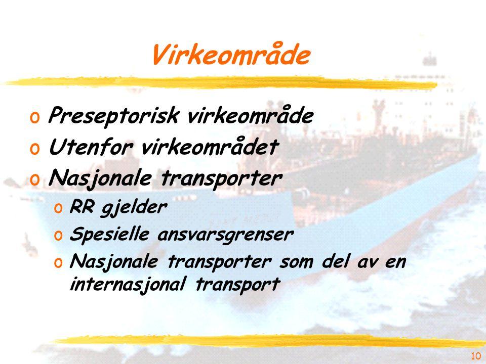 Virkeområde oPreseptorisk virkeområde oUtenfor virkeområdet oNasjonale transporter oRR gjelder oSpesielle ansvarsgrenser oNasjonale transporter som del av en internasjonal transport 10