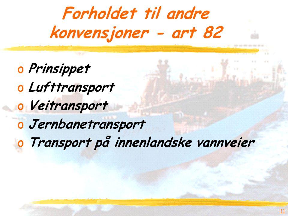 Forholdet til andre konvensjoner - art 82 oPrinsippet oLufttransport oVeitransport oJernbanetransport oTransport på innenlandske vannveier 11