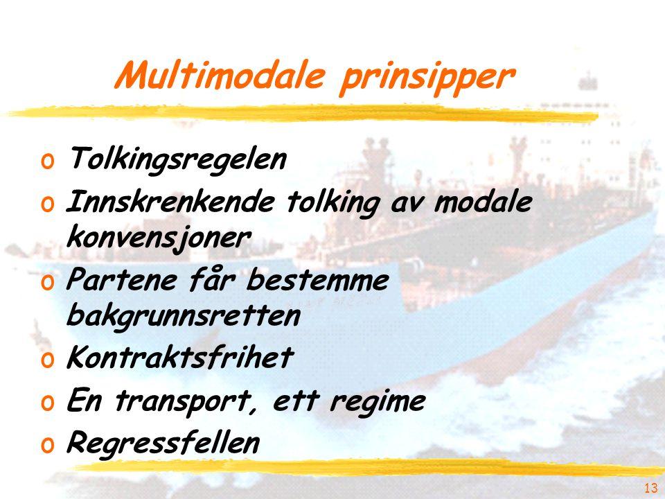 Multimodale prinsipper oTolkingsregelen oInnskrenkende tolking av modale konvensjoner oPartene får bestemme bakgrunnsretten oKontraktsfrihet oEn transport, ett regime oRegressfellen 13