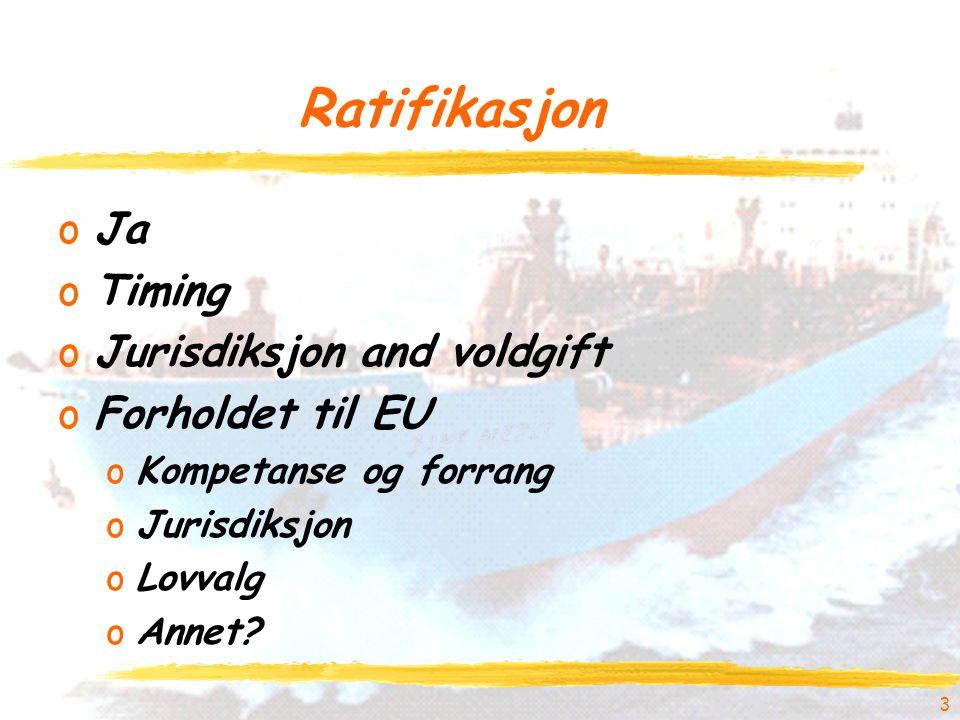 Ratifikasjon oJa oTiming oJurisdiksjon and voldgift oForholdet til EU oKompetanse og forrang oJurisdiksjon oLovvalg oAnnet.