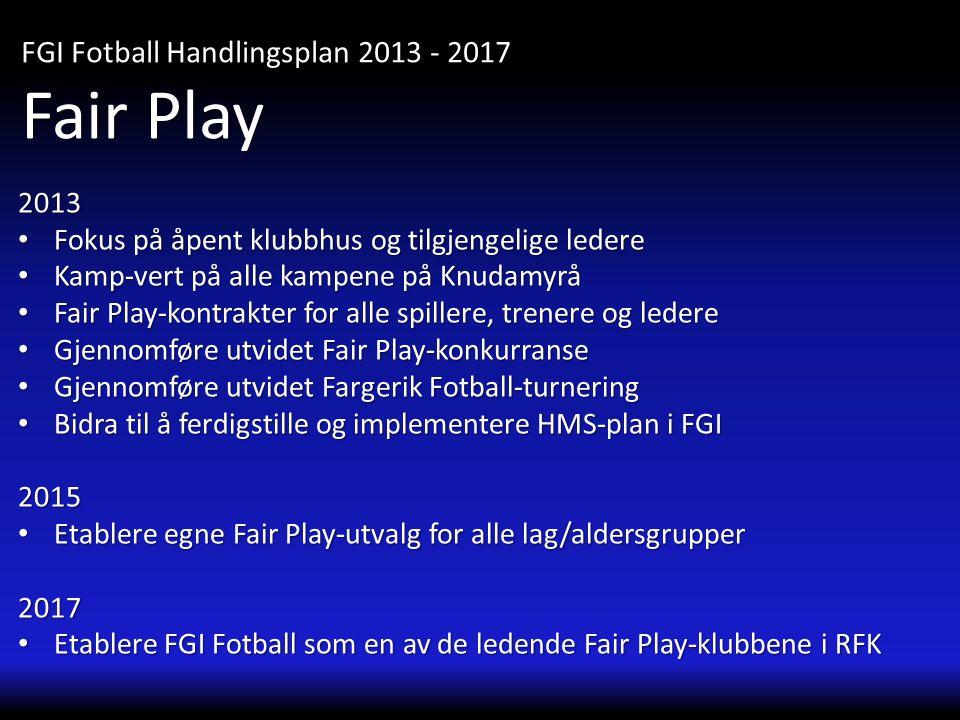 2013 • Fokus på åpent klubbhus og tilgjengelige ledere • Kamp-vert på alle kampene på Knudamyrå • Fair Play-kontrakter for alle spillere, trenere og l