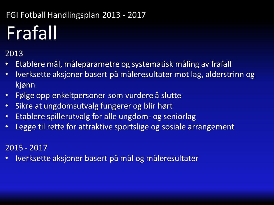 2013 • Etablere mål, måleparametre og systematisk måling av frafall • Iverksette aksjoner basert på måleresultater mot lag, alderstrinn og kjønn • Føl