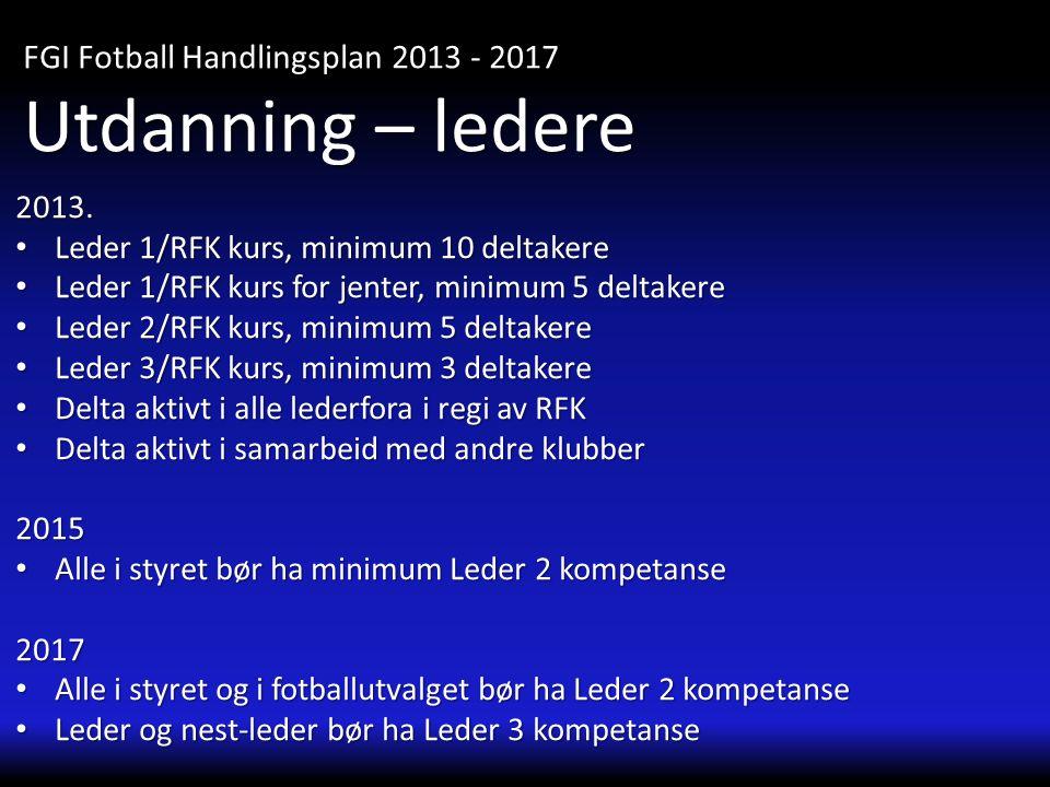 2013. • Leder 1/RFK kurs, minimum 10 deltakere • Leder 1/RFK kurs for jenter, minimum 5 deltakere • Leder 2/RFK kurs, minimum 5 deltakere • Leder 3/RF