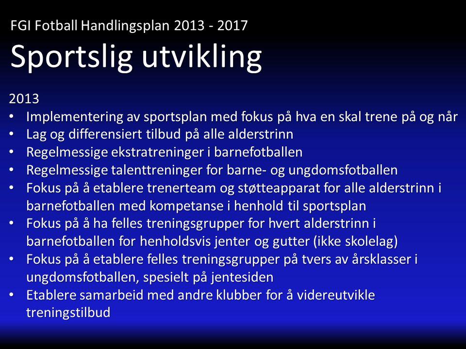 2013 • Implementering av sportsplan med fokus på hva en skal trene på og når • Lag og differensiert tilbud på alle alderstrinn • Regelmessige ekstratr
