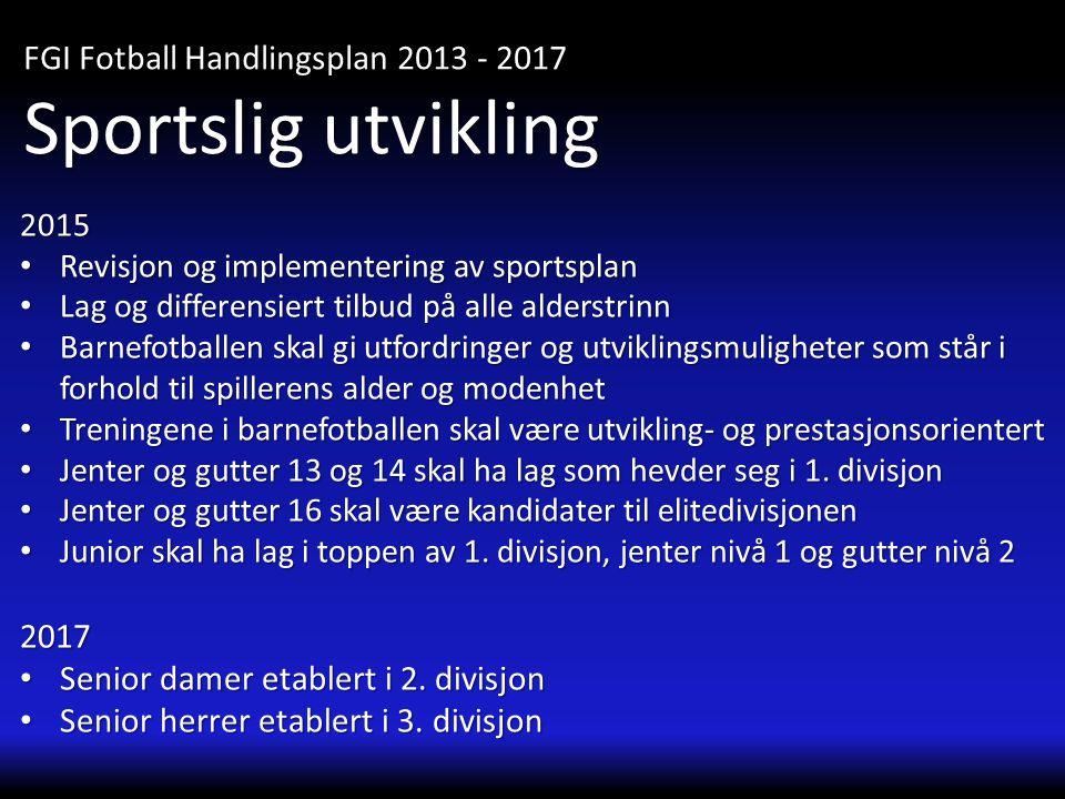 2015 • Revisjon og implementering av sportsplan • Lag og differensiert tilbud på alle alderstrinn • Barnefotballen skal gi utfordringer og utviklingsm