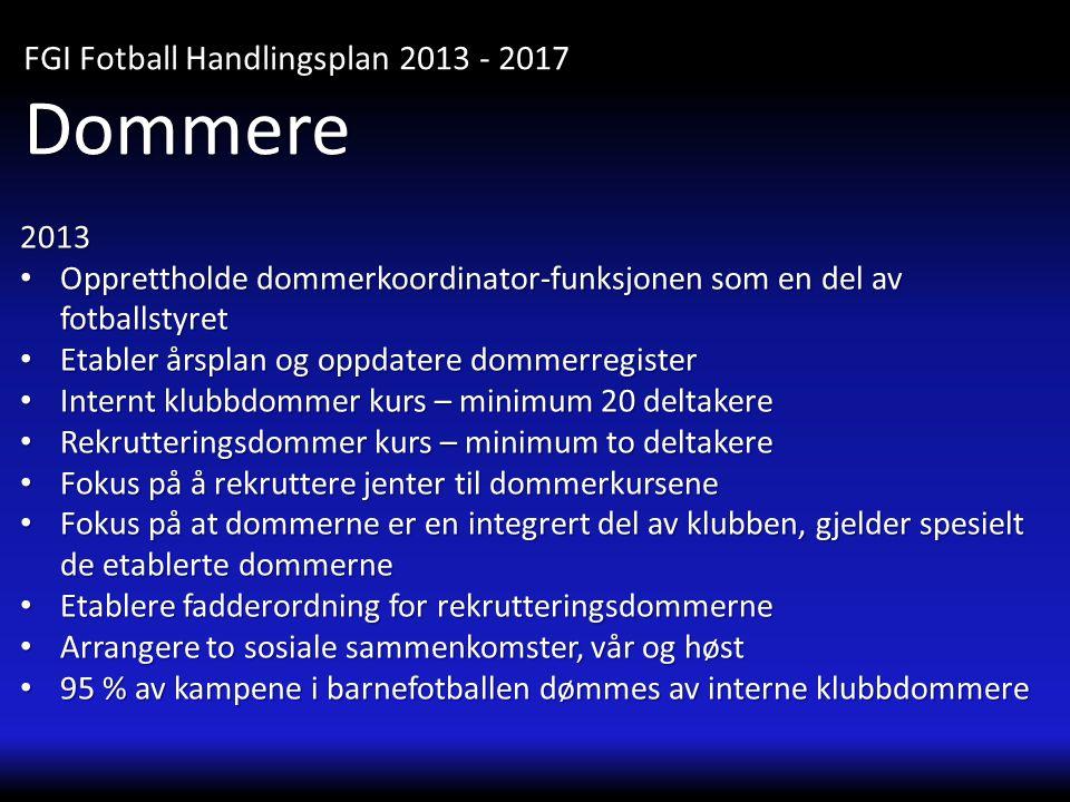 2013 • Opprettholde dommerkoordinator-funksjonen som en del av fotballstyret • Etabler årsplan og oppdatere dommerregister • Internt klubbdommer kurs