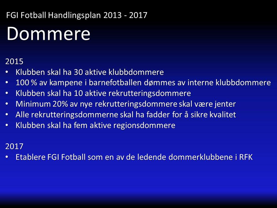2015 • Klubben skal ha 30 aktive klubbdommere • 100 % av kampene i barnefotballen dømmes av interne klubbdommere • Klubben skal ha 10 aktive rekrutter