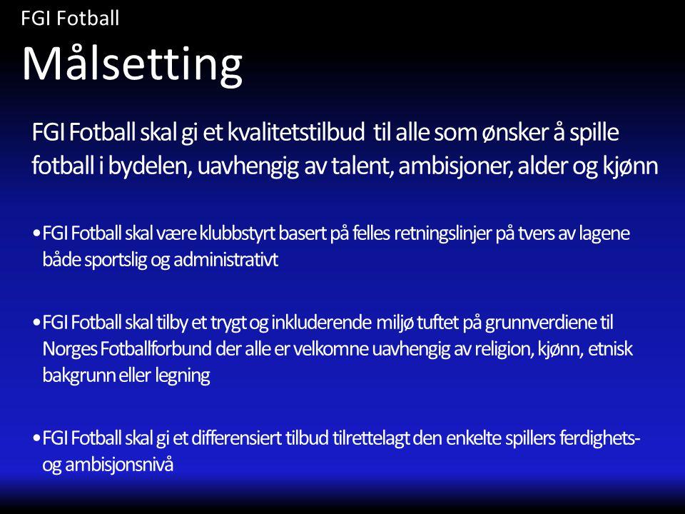 FGI Fotball skal gi et kvalitetstilbud til alle som ønsker å spille fotball i bydelen, uavhengig av talent, ambisjoner, alder og kjønn •FGI Fotball sk