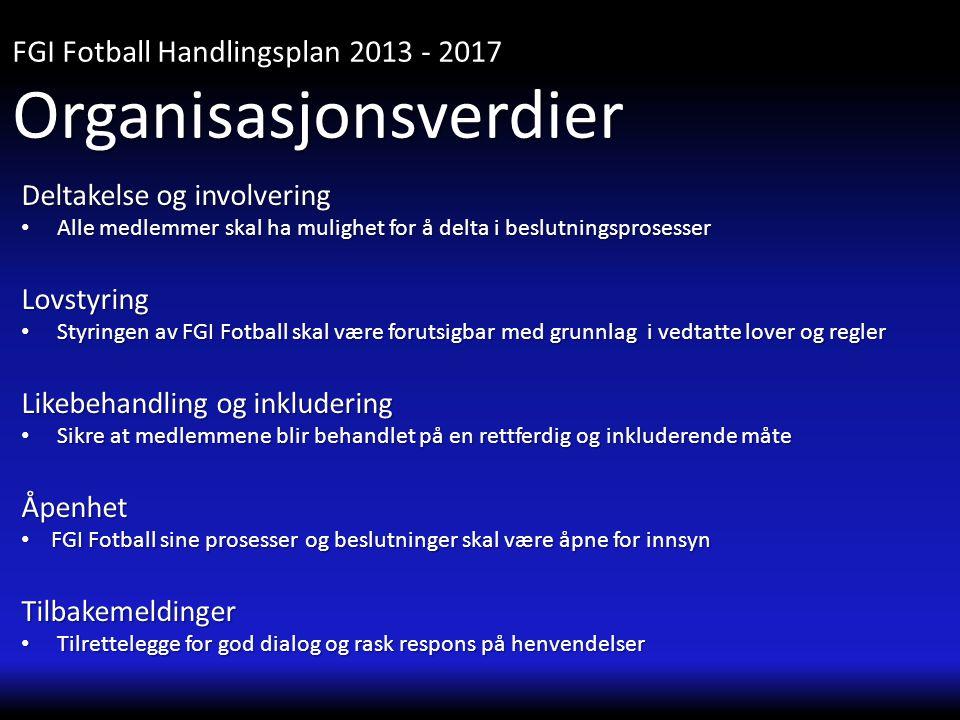 Deltakelse og involvering • Alle medlemmer skal ha mulighet for å delta i beslutningsprosesser Lovstyring • Styringen av FGI Fotball skal være forutsi