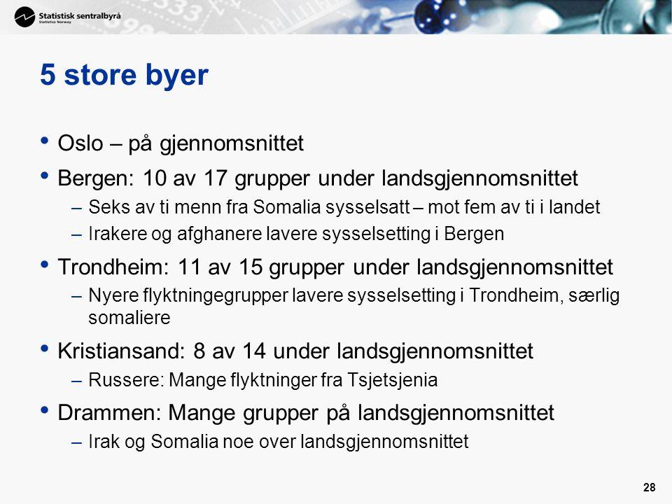 28 5 store byer • Oslo – på gjennomsnittet • Bergen: 10 av 17 grupper under landsgjennomsnittet –Seks av ti menn fra Somalia sysselsatt – mot fem av t