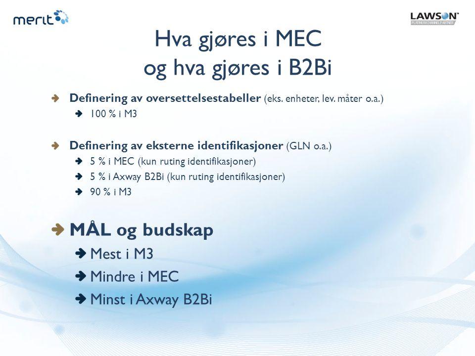 Hva gjøres i MEC og hva gjøres i B2Bi Definering av oversettelsestabeller (eks. enheter, lev. måter o.a.) 100 % i M3 Definering av eksterne identifika