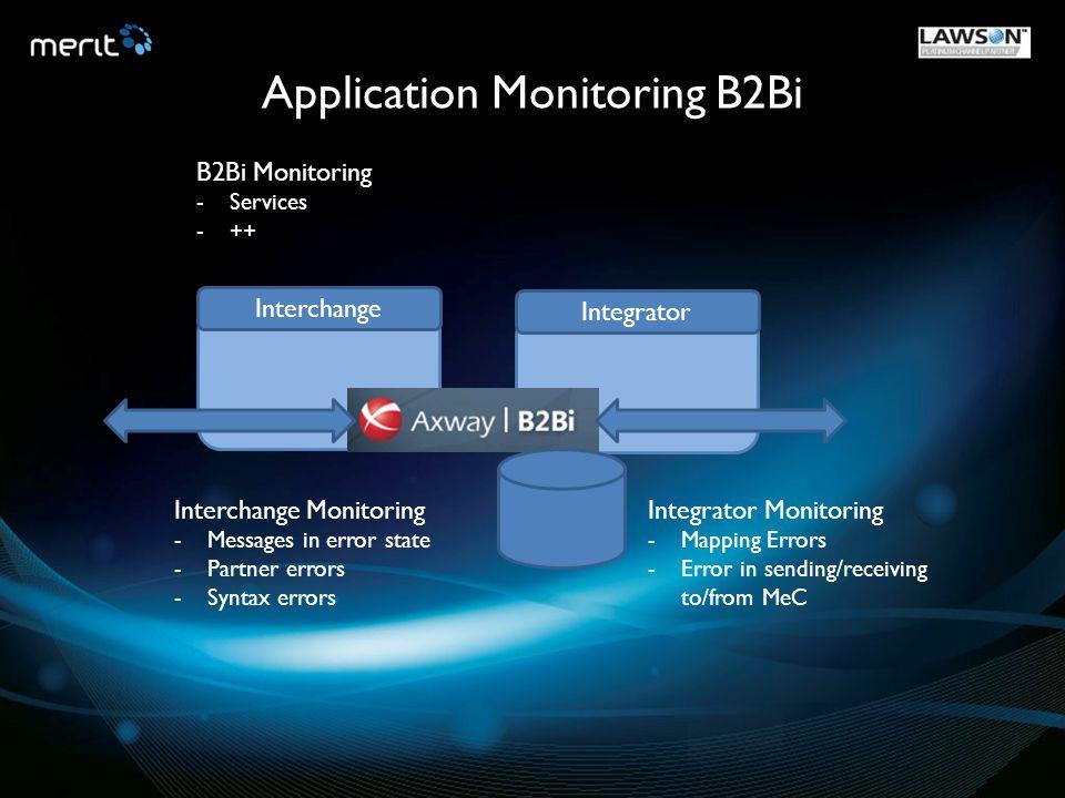InterchangeIntegrator Application Monitoring B2Bi Interchange Monitoring -Messages in error state -Partner errors -Syntax errors Integrator Monitoring
