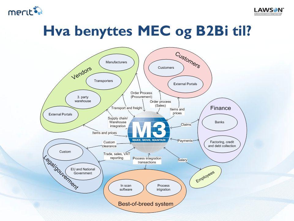 Litt om ulike produkter Historiske produkter relatert til EDI mot Movex RPG-versjoner Movex EDI/Enable – EDI modul i Movex EDI/400 – EDI syntaks oversetter AMTrix – EDI syntaks oversetter Historiske produkter relatert til EDI mot Movex/M3 Java-versjoner MEC – M3 Enterprise Collaborator AMTrix – EDI syntaks oversetter Nåtid og fremtid (Lawsons anbefalte produkter for M3) MEC – M3 Enterprise Collaborator Axway B2Bi – business message integrator