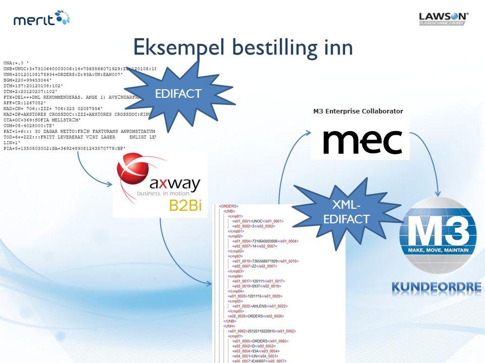 Eksempel bestilling inn XML- EDIFACT EDIFACT