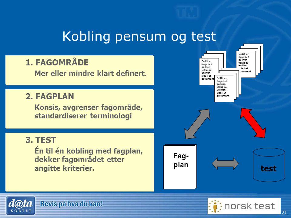 21 Kobling pensum og test 1.FAGOMRÅDE Mer eller mindre klart definert.
