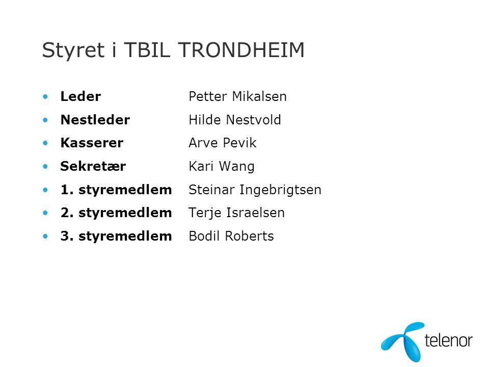Styret i TBIL TRONDHEIM •LederPetter Mikalsen •NestlederHilde Nestvold •KassererArve Pevik •SekretærKari Wang •1.