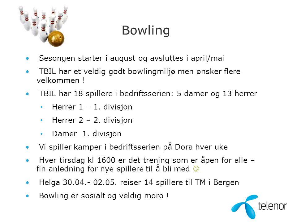 Bowling • Sesongen starter i august og avsluttes i april/mai • TBIL har et veldig godt bowlingmiljø men ønsker flere velkommen .