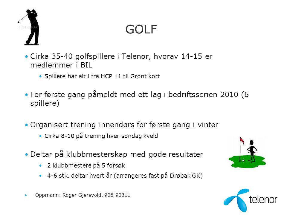 GOLF •Cirka 35-40 golfspillere i Telenor, hvorav 14-15 er medlemmer i BIL •Spillere har alt i fra HCP 11 til Grønt kort •For første gang påmeldt med ett lag i bedriftsserien 2010 (6 spillere) •Organisert trening innendørs for første gang i vinter •Cirka 8-10 på trening hver søndag kveld •Deltar på klubbmesterskap med gode resultater •2 klubbmestere på 5 forsøk •4-6 stk.
