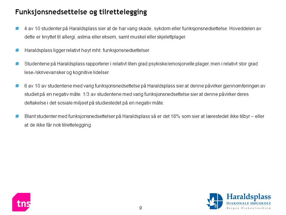 9 4 av 10 studenter på Haraldsplass sier at de har varig skade, sykdom eller funksjonsnedsettelse.