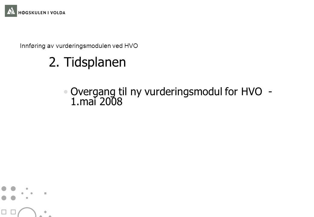 Innføring av vurderingsmodulen ved HVO 2.