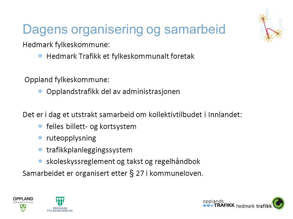 Dagens organisering og samarbeid Hedmark fylkeskommune: Hedmark Trafikk et fylkeskommunalt foretak Oppland fylkeskommune: Opplandstrafikk del av admin