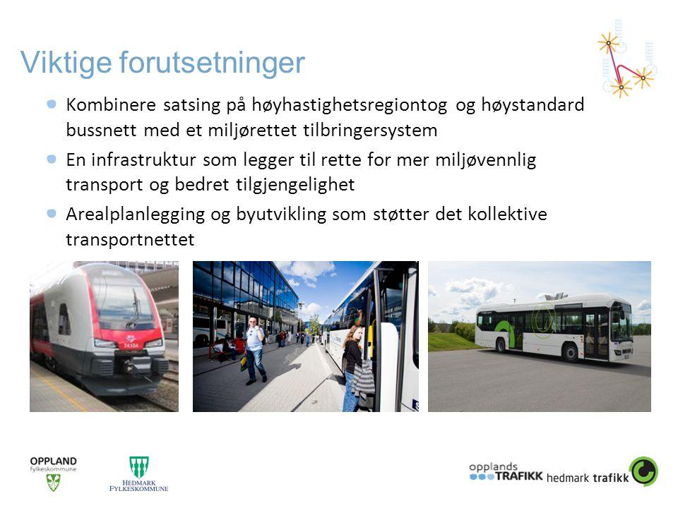 Viktige forutsetninger Kombinere satsing på høyhastighetsregiontog og høystandard bussnett med et miljørettet tilbringersystem En infrastruktur som le