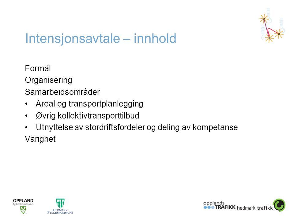 Intensjonsavtale – innhold Formål Organisering Samarbeidsområder •Areal og transportplanlegging •Øvrig kollektivtransporttilbud •Utnyttelse av stordri