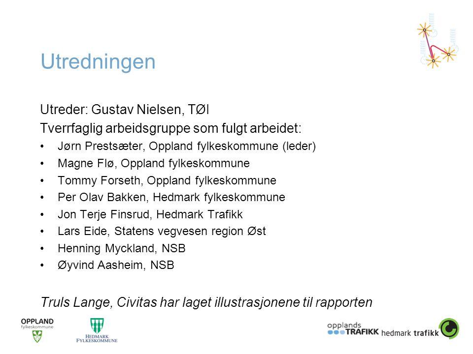 Utredningen Utreder: Gustav Nielsen, TØI Tverrfaglig arbeidsgruppe som fulgt arbeidet: •Jørn Prestsæter, Oppland fylkeskommune (leder) •Magne Flø, Opp