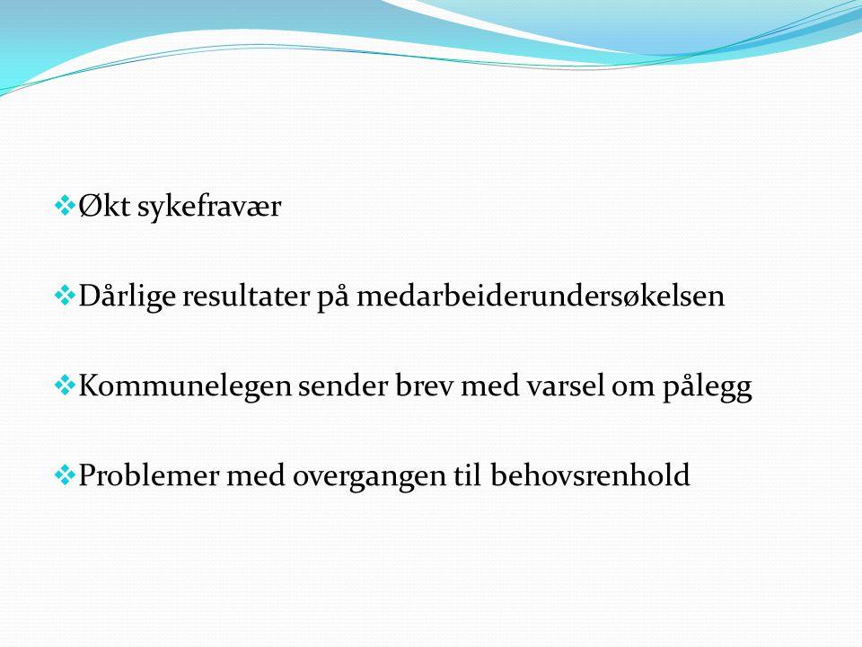  Økt sykefravær  Dårlige resultater på medarbeiderundersøkelsen  Kommunelegen sender brev med varsel om pålegg  Problemer med overgangen til behovsrenhold