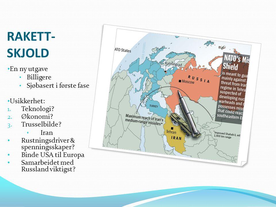 RUSSLAND & NATO • Samarbeid rakettskjold • Omforent trusselanalyse • Viktige endringer: • USAs reset-button • Ukraina • Polen • Norge • Skremt av Afghanistan • Finanskrise & energimarkeder • Presidentvalg i Russland og USA i 2012!