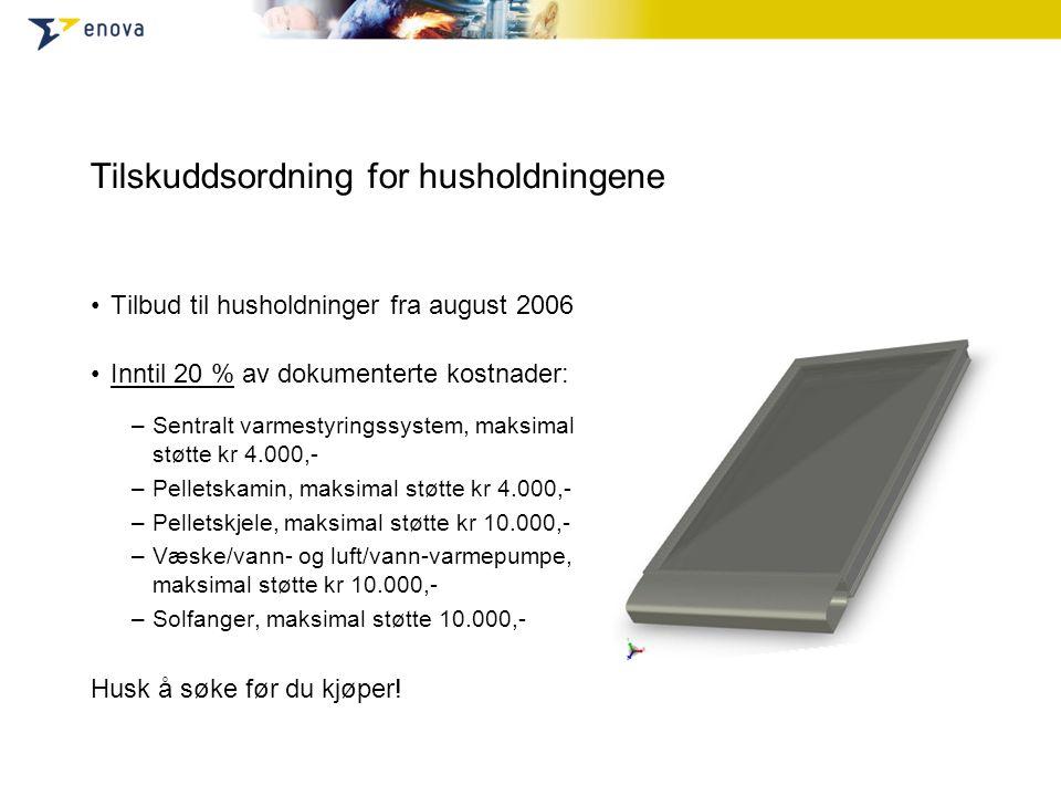 Tilskuddsordning for husholdningene •Tilbud til husholdninger fra august 2006 •Inntil 20 % av dokumenterte kostnader: –Sentralt varmestyringssystem, m
