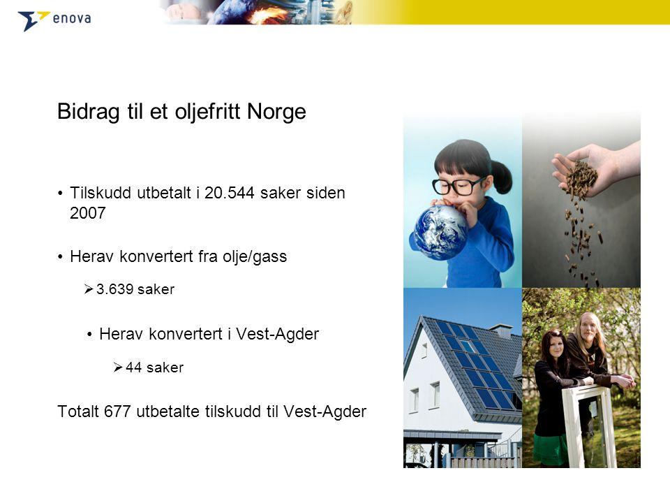 Bidrag til et oljefritt Norge •Tilskudd utbetalt i 20.544 saker siden 2007 •Herav konvertert fra olje/gass  3.639 saker •Herav konvertert i Vest-Agde